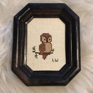 Vintage 70s Owl Needlepoint Framed Art